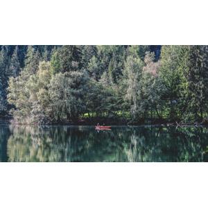 フリー写真, 風景, 湖, 樹木, 人と風景, 人と乗り物, 船, 手漕ぎボート, オーストリアの風景