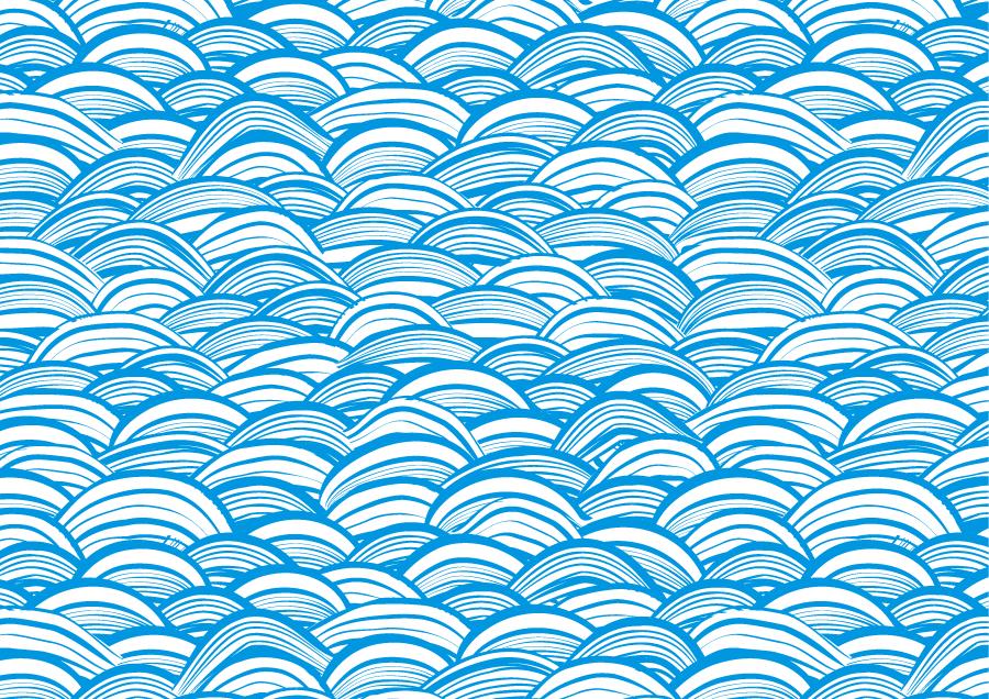 フリーイラスト 青い波の和柄背景