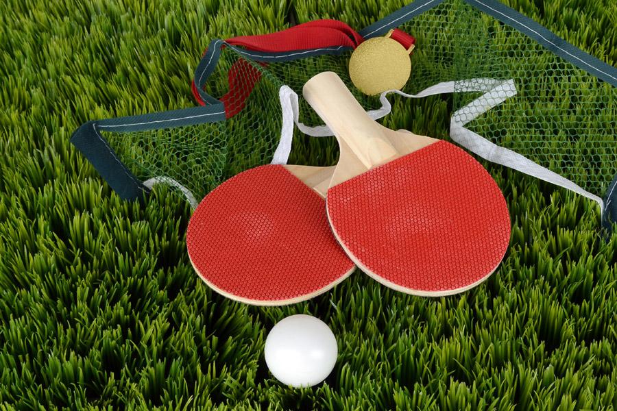 フリー写真 卓球のラケットとピン球とネットと金メダル