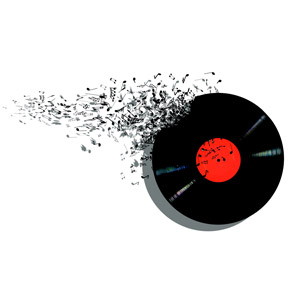 フリーイラスト, 音楽, 音符, レコード, 背景