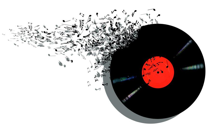 フリーイラスト レコード盤と音符