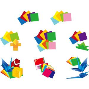 フリーイラスト, ベクター画像, AI, 折り紙, 子供の遊び, 折り鶴(折鶴), 紙(ペーパー)