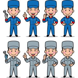 フリーイラスト, ベクター画像, EPS, 人物, 老人, シニア男性, 仕事, 職業, 整備士, 作業着, スパナ, 説明する, アドバイス, やる気, 腰に手を当てる