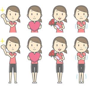 フリーイラスト, ベクター画像, AI, 人物, 女性, 女性(00217), 仕事, 職業, インストラクター, スポーツトレーナー, フィットネスクラブ, トレーニングジム, やる気, 頑張る, ハート, プレゼント, 花束, 寒い, お見舞い
