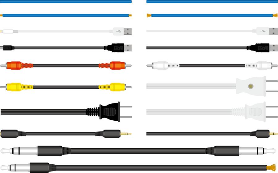 フリーイラスト 電源ケーブルやAVケーブルなどのケーブルのセット