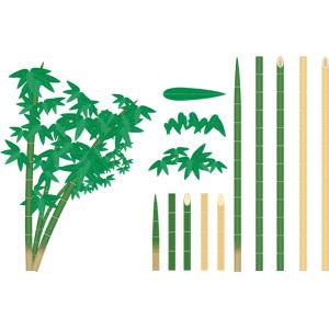 フリーイラスト, ベクター画像, AI, 竹(タケ), 葉っぱ