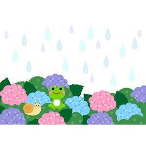 フリーイラスト, ベクター画像, AI, 背景, 梅雨, 6月, 雨, 植物, 花, 紫陽花(アジサイ), 蛙(カエル), カタツムリ