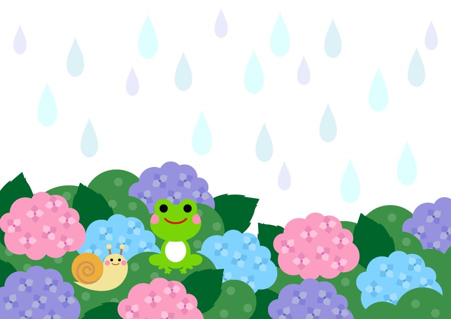 フリーイラスト 紫陽花と梅雨の雨の背景