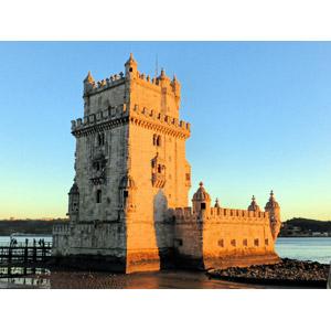 フリー写真, 風景, 建造物, 建築物, 塔(タワー), 要塞, ベレンの塔, 世界遺産, ポルトガルの風景, リスボン, 夕暮れ(夕方)