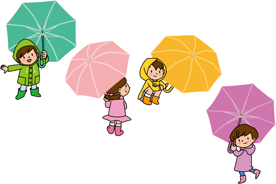 フリーイラスト 4種類の傘を差す子供のセット