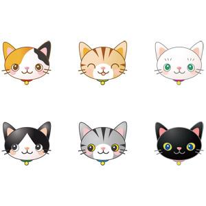フリーイラスト, ベクター画像, AI, 動物, 哺乳類, 猫(ネコ), 動物の顔, 三毛猫, 黒白猫, 茶白猫, サバ白猫, 白猫, 黒猫