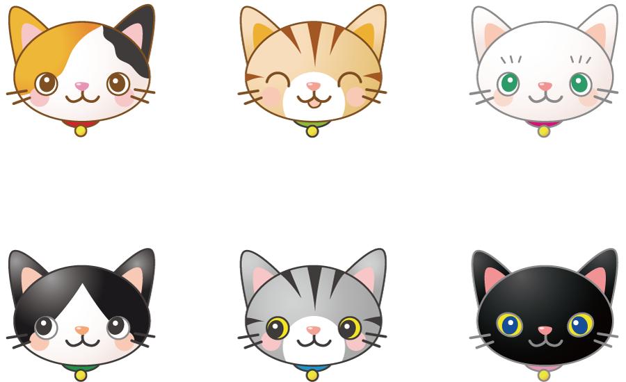 フリーイラスト 6種類の猫の顔のセット