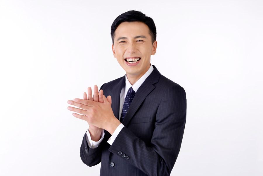 フリー写真 拍手する日本のビジネスマン