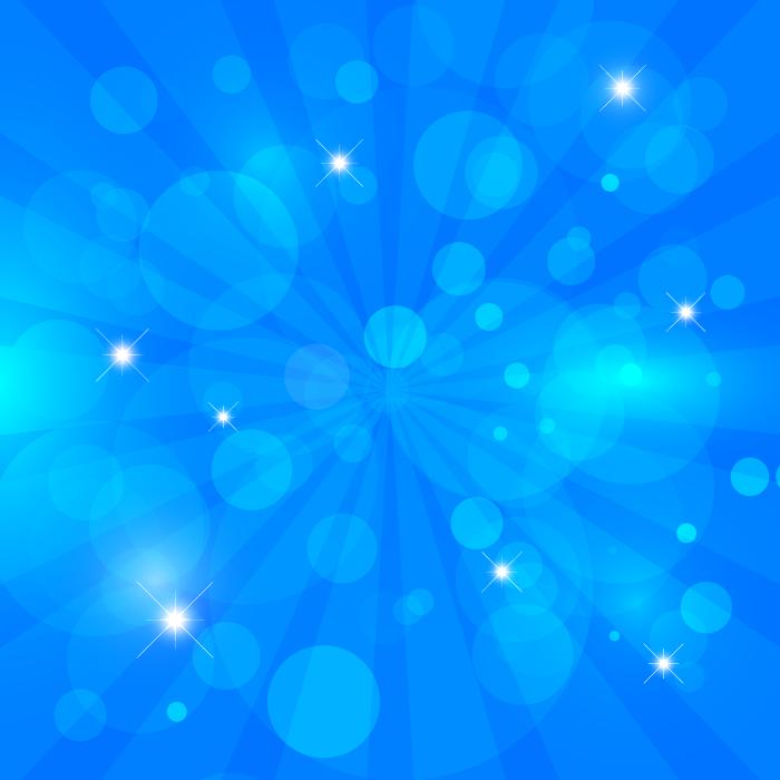 フリーイラスト 光の玉と青色の放射状の背景