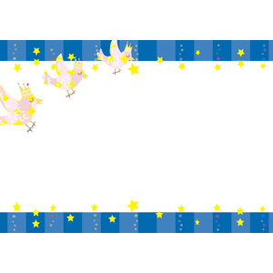 フリーイラスト, ベクター画像, AI, 背景, フレーム, 上下フレーム, 小鳥, 星(スター)