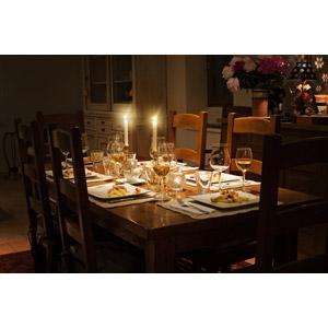 フリー写真, 風景, 部屋, 食卓(テーブル), 食事, ろうそく(ロウソク)