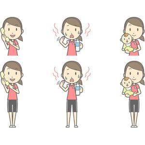 フリーイラスト, ベクター画像, AI, 人物, 女性, 女性(00217), 仕事, 職業, インストラクター, スポーツトレーナー, フィットネスクラブ, トレーニングジム, 固定電話, 通話, 暑い, 親子, 母親(お母さん), 子供, 赤ちゃん