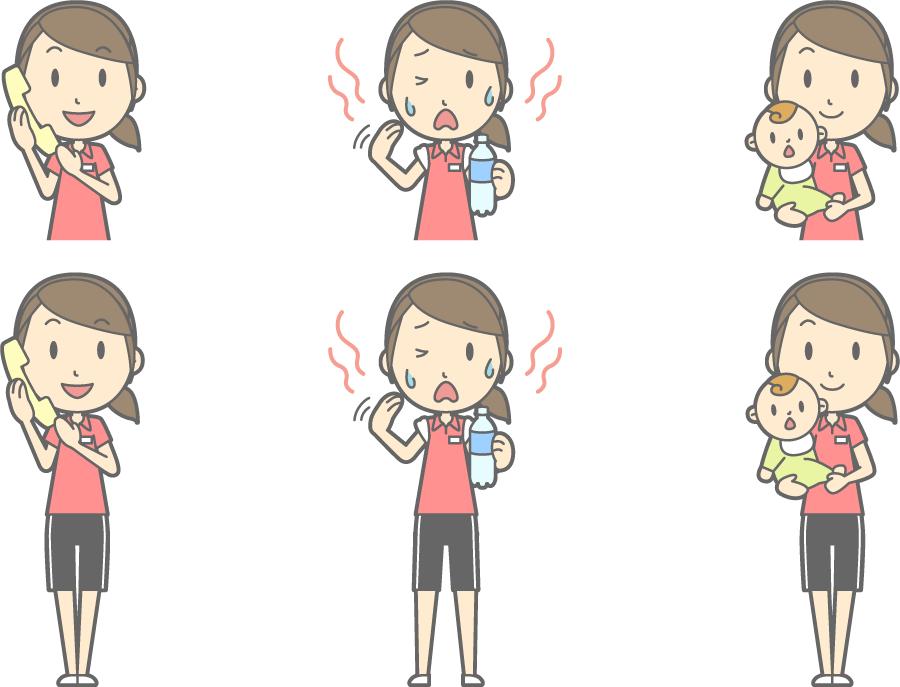フリーイラスト 暑いなどの6種類の女性インストラクターのセット