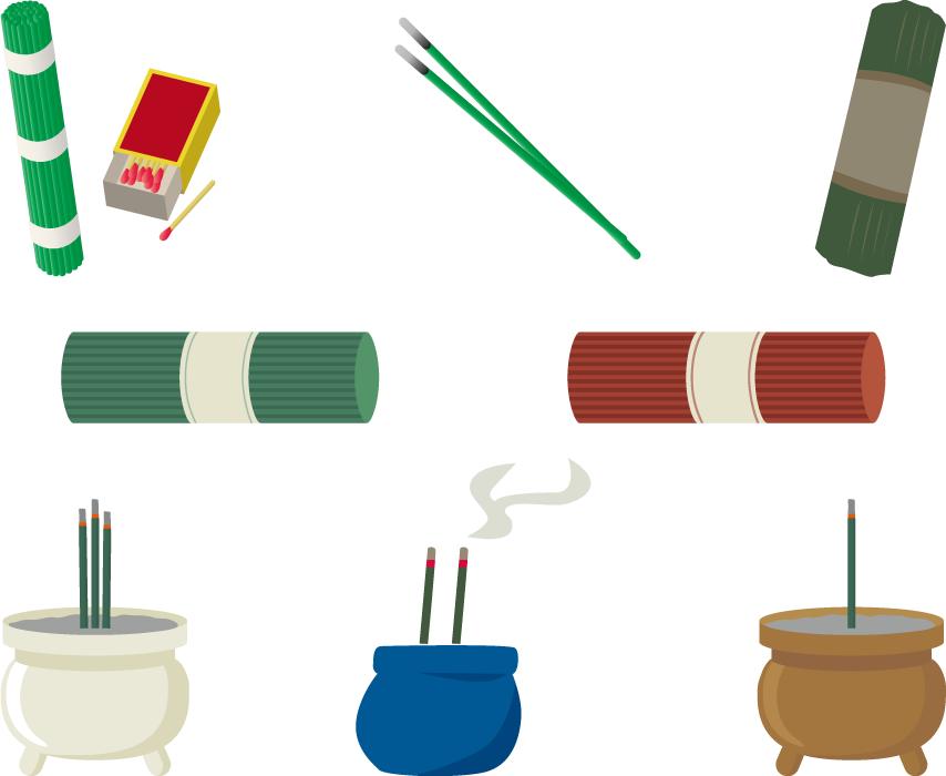 フリーイラスト 8種類の線香のセット