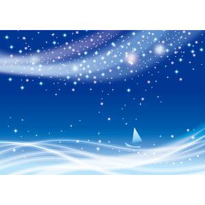 フリーイラスト, ベクター画像, AI, 背景, 海, 船, ヨット, 夜, 夜空, 星(スター), 天の川, 青色(ブルー)