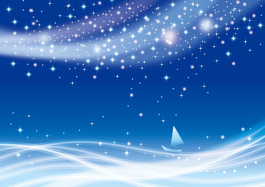 フリーイラスト 天の川の下を進むヨット