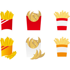 フリーイラスト, ベクター画像, AI, 食べ物(食料), 料理, 芋料理, 揚げ物, ファーストフード, フライドポテト