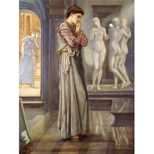 フリー絵画, エドワード・バーン=ジョーンズ, 物語画, 神話, ギリシア神話, ピグマリオン, 彫像, 考える, 彫像