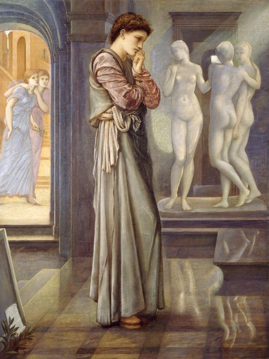 フリー絵画 エドワード・バーン=ジョーンズ作「ピグマリオンと彫像 – 恋心」