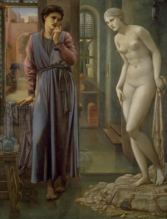 フリー絵画 エドワード・バーン=ジョーンズ作「ピグマリオンと彫像 – 心抑えて」