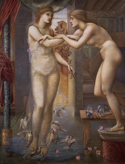 フリー絵画 エドワード・バーン=ジョーンズ作「ピグマリオンと彫像 – 女神のはからい」