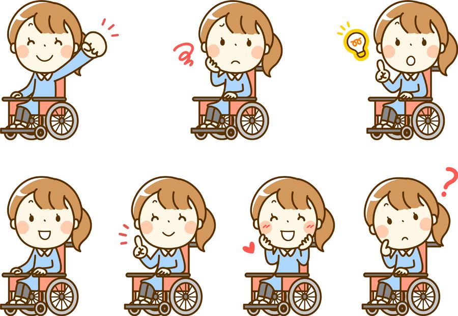 フリーイラスト 7種類の車椅子に乗る女性のセット