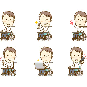 フリーイラスト, 人物, 男性, 車椅子, 障碍者(障害者), 怪我, サムズアップ, いいね(グッド), 困る, 指差す, アドバイス, パソコン(PC), ノートパソコン, 携帯電話, スマートフォン(スマホ), 通話