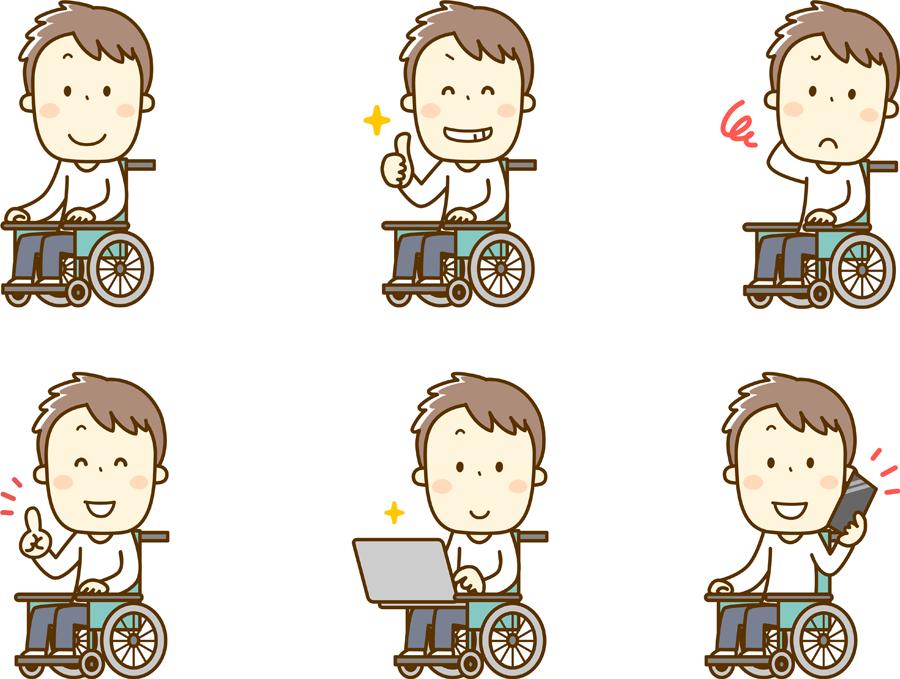 フリーイラスト 6種類の車椅子に乗る男性のセット