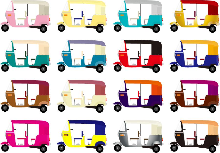 フリーイラスト 16種類の三輪タクシーのセット