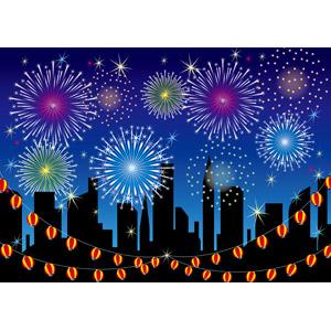 フリーイラスト, ベクター画像, EPS, 背景, 花火, 打ち上げ花火, 提灯, 都市, 街並み(町並み), 夜