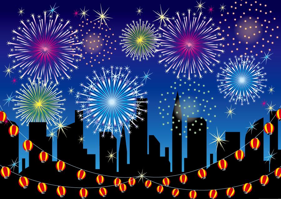 フリーイラスト 提灯と花火大会の背景