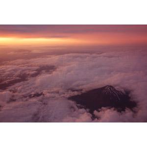 フリー写真, 風景, 自然, 夕暮れ(夕方), 夕焼け, 雲, 山, 富士山, 世界遺産, 日本の風景, 航空写真