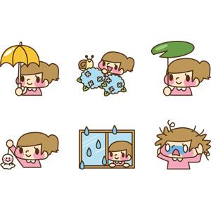 フリーイラスト, ベクター画像, AI, 人物, 子供, 女の子, 梅雨, 6月, 傘, 紫陽花(アジサイ), カタツムリ, てるてる坊主, 雨, 窓辺, ボサボサ髪