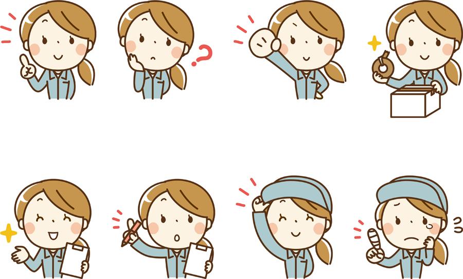 フリーイラスト 8種類の作業服姿の女性のセット