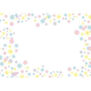 フリーイラスト, ベクター画像, AI, 背景, フレーム, 囲みフレーム, 花柄, カラフル, パステルカラー