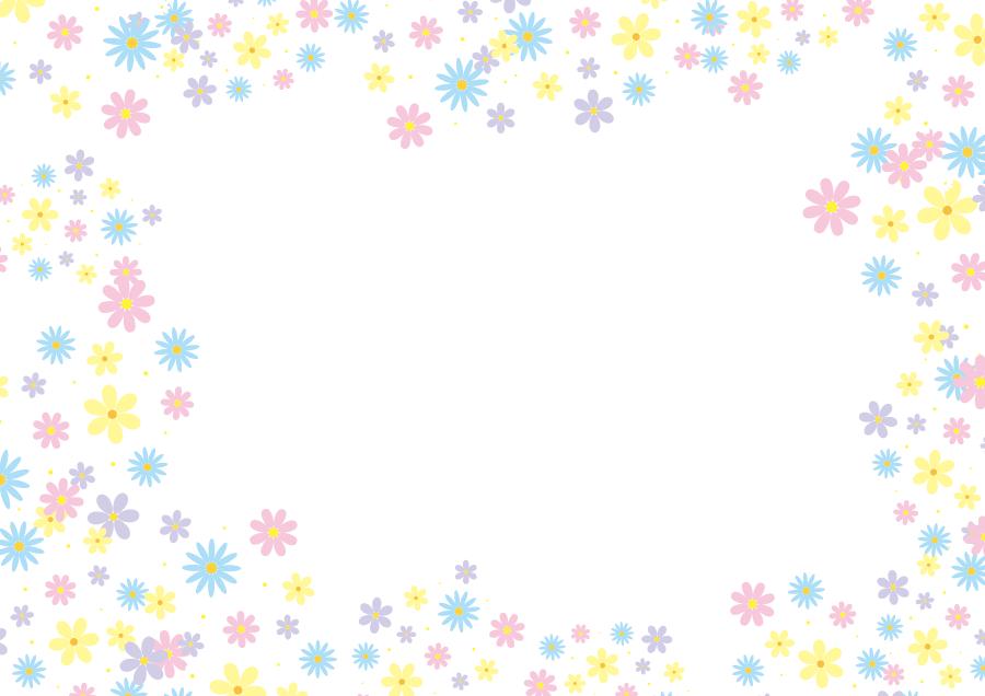 フリーイラスト パステルカラーの花柄の飾り枠