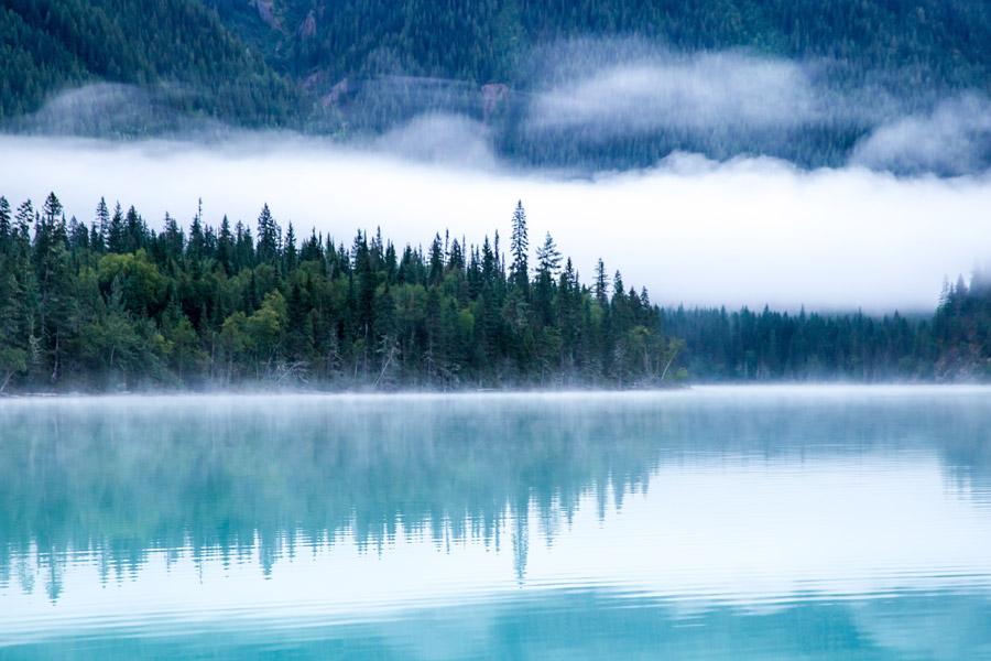 フリー写真 霧のかかる湖と森の風景