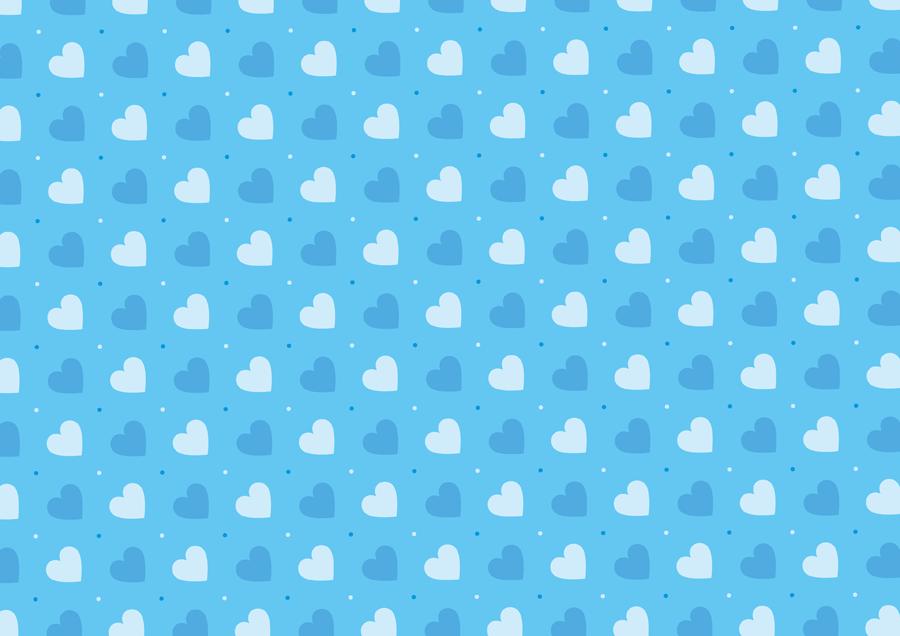 フリーイラスト 青色のハートの背景