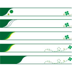 フリーイラスト, ベクター画像, AI, バナー, クローバー(シロツメクサ), 四つ葉のクローバー, 緑色(グリーン)