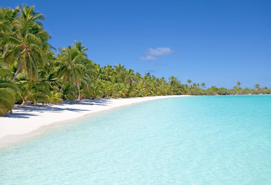 フリー写真 アイツタキ島の海と砂浜の風景
