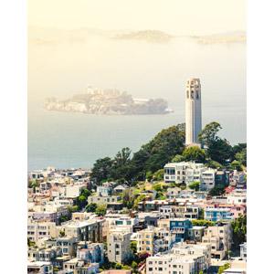 フリー写真, 風景, 建造物, 建築物, 都市, 街並み(町並み), 塔(タワー), コイトタワー, アルカトラズ島, 刑務所, アメリカの風景, サンフランシスコ, カリフォルニア州