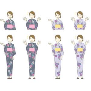 フリーイラスト, ベクター画像, AI, 人物, 女性, 女性(00224), 和服, 浴衣, 夏, 案内する, 驚く