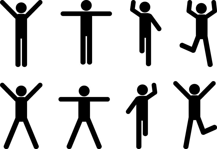 フリーイラスト 手を広げるなどの8種類の人物のピクトグラムのセット