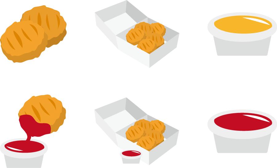 フリーイラスト 6種類のチキンナゲットとソースのセット