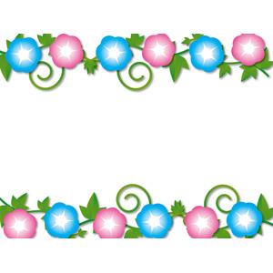 フリーイラスト, ベクター画像, AI, 背景, フレーム, 上下フレーム, 植物, 花, 朝顔(アサガオ)